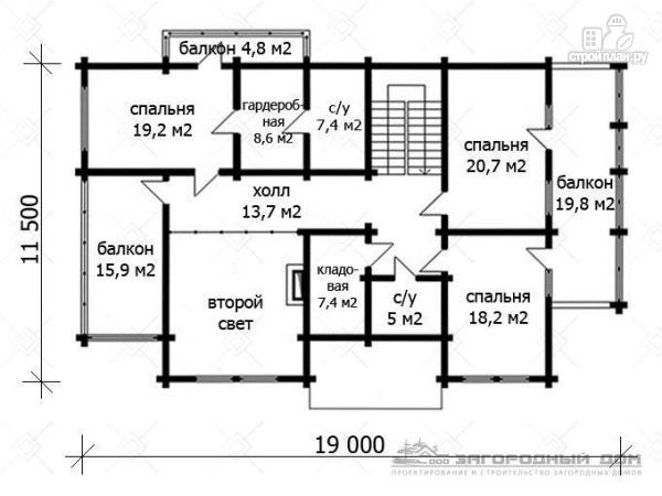 Фото 3: проект дом из бруса с двумя балконами, террасами и двухсветной гостиной