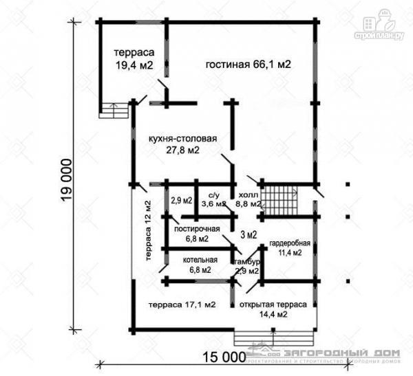 Фото 2: проект большой дом с большими террасами и балконом
