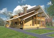 Проект большой дом с большими террасами и балконом