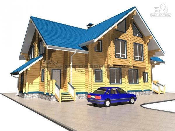 Фото 6: проект спаренный дом из бруса с террасой и балконами