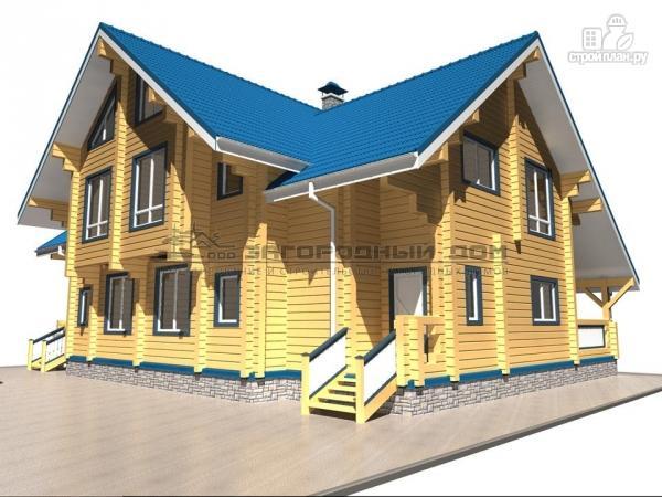 Фото 7: проект спаренный дом из бруса с террасой и балконами
