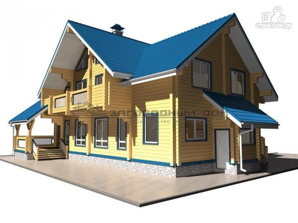 Фото 8: проект спаренный дом из бруса с террасой и балконами