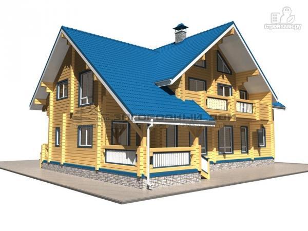 Фото 5: проект спаренный дом из бруса с террасой и балконами