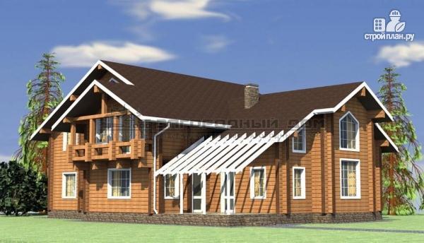 Фото: проект большой дом из бруса с террасой, балконом и вторым светом в гостиной