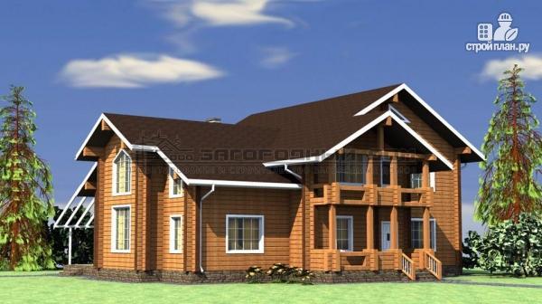 Фото 4: проект большой дом из бруса с террасой, балконом и вторым светом в гостиной