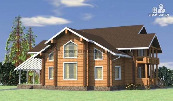 Фото 5: проект большой дом из бруса с террасой, балконом и вторым светом в гостиной