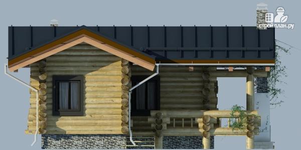 Фото 4: проект баня из бревна с угловой террасой
