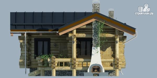 Фото 5: проект баня из бревна с угловой террасой