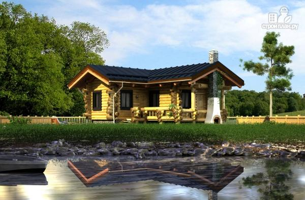 Фото: проект баня из бревна с угловой террасой