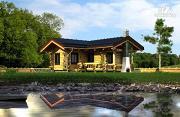 Проект баня из бревна с угловой террасой