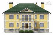 Проект трехэтажный миниотель с балконом, небольшой террасой и сауной