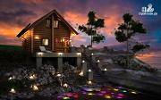 Фото: бревенчатый дом-баня с мансардным этажом