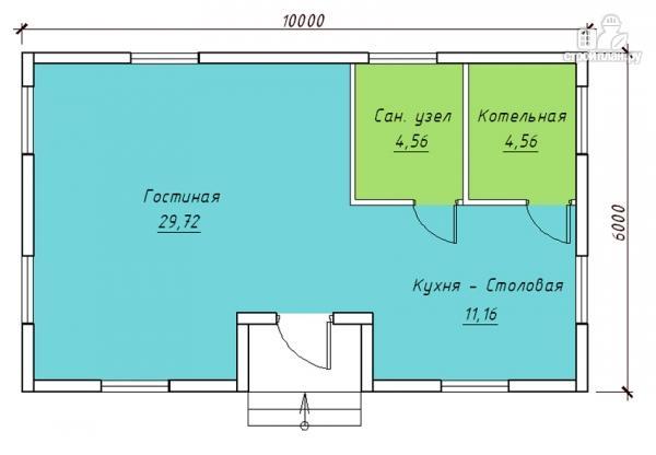 Фото 2: проект одноэтажный коттедж 6х10