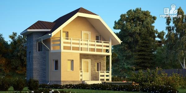 Фото: проект каркасный дом с мансардным этажом и балконом
