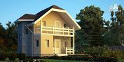 Проект каркасный дом с мансардным этажом и балконом