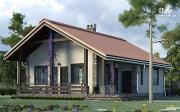 Фото: одноэтажный загородный дом с террасой