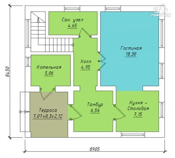 Фото 2: проект полутораэтажный дом с террасой и балконом