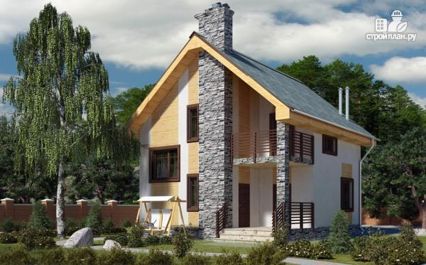 Фото: проект полутораэтажный дом с террасой и балконом