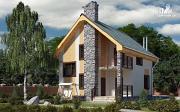 Проект полутораэтажный дом с террасой и балконом