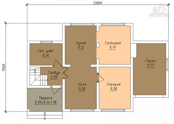 Фото 2: проект дом с крыльцом и гаражом