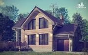 Проект дом с крыльцом и гаражом