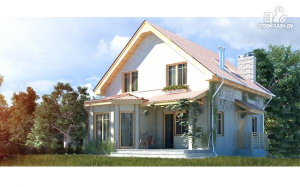 Фото: проект загородный дом с мансардой, эркером и террасой