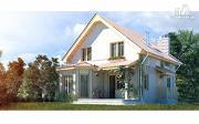 Проект загородный дом с мансардой, эркером и террасой