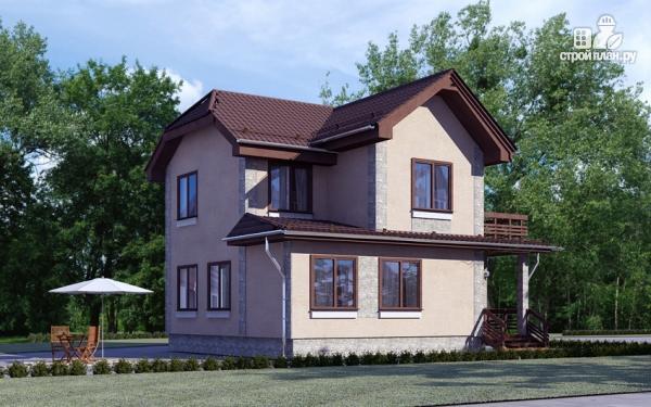 Фото 4: проект двухэтажный дом из газобетона с балконом и крыльцом