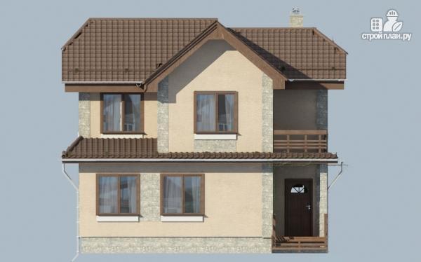 Фото 6: проект двухэтажный дом из газобетона с балконом и крыльцом