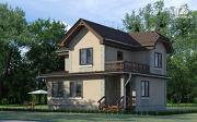 Фото: двухэтажный дом из газобетона с балконом и крыльцом