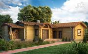 Фото: одноэтажныый бревенчатый дом с террасой и дровницей