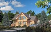 Фото: деревянный дом 9х9 с мансардой и террасой