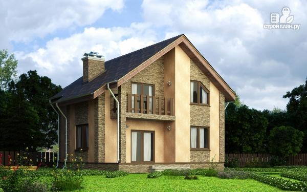 Фото: проект дом из газобетона с террасой, балконом и сауной
