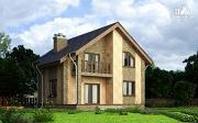 Проект дом из газобетона с террасой, балконом и сауной