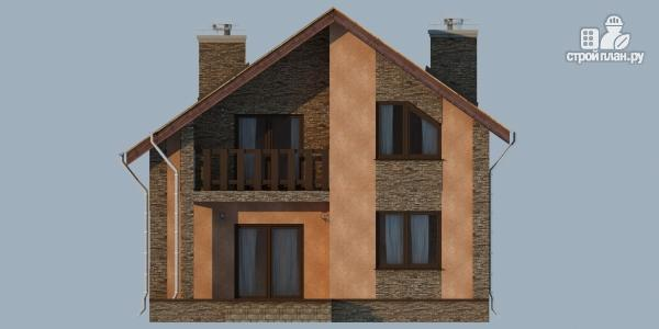 Фото 4: проект дом из газобетона с террасой, балконом и сауной