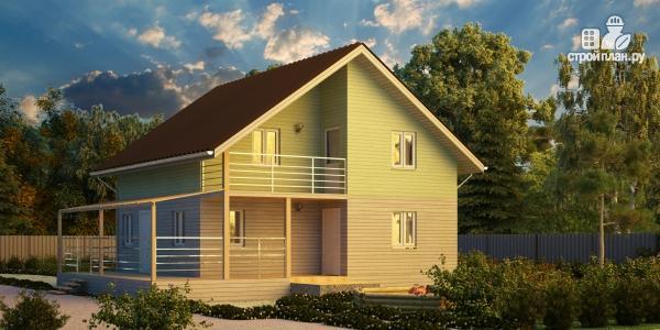 Фото: проект каркасный дом с балконом и угловой террасой