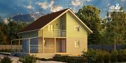 Фото: каркасный дом с балконом и угловой террасой
