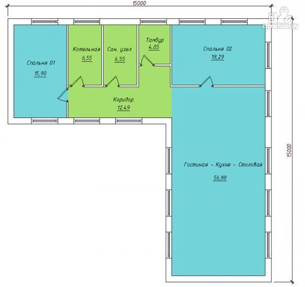 Фото 2: проект одноэтажный дом для углового участка