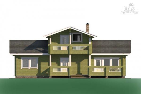 Фото 7: проект дом из дерева с террасой и балконом