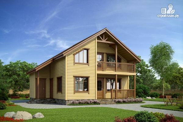 Фото: проект каркасный дом с террасой, балконом и сауной