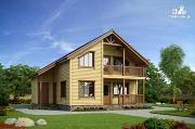 Фото: каркасный дом с террасой, балконом и сауной