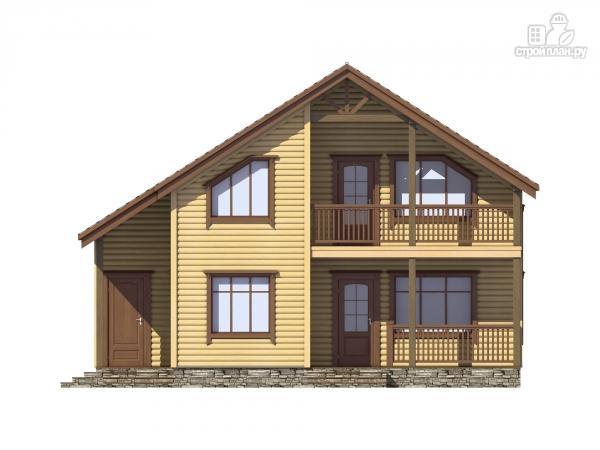 Фото 4: проект каркасный дом с террасой, балконом и сауной