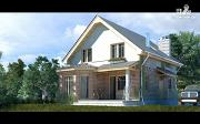 Проект дом с террасой, эркером и мансардным этажом