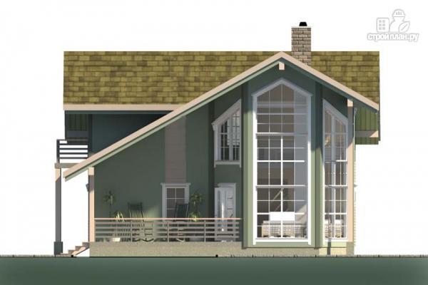 Фото 5: проект дом с террасой, балконом и вторым светом в эркере гостиной