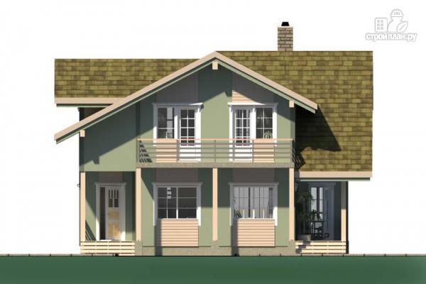 Фото 7: проект дом с террасой, балконом и вторым светом в эркере гостиной