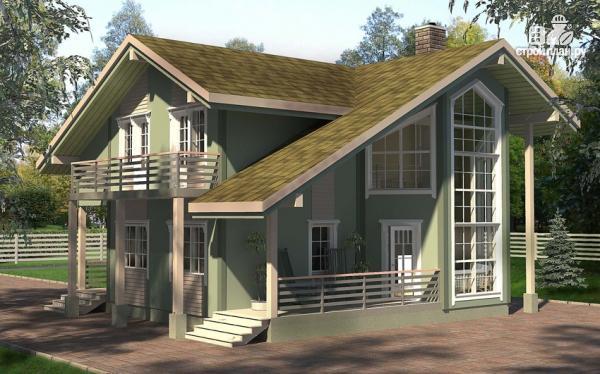 Фото: проект дом с террасой, балконом и вторым светом в эркере гостиной