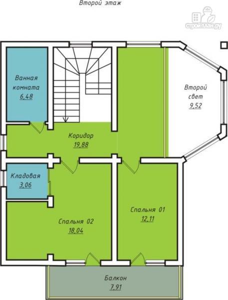 Фото 3: проект дом с террасой, балконом и вторым светом в эркере гостиной