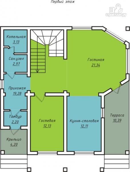 Фото 2: проект дом с террасой, балконом и вторым светом в эркере гостиной