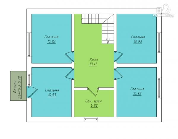 Фото 3: проект дом в полтора этажа с длинной террасой и балконом