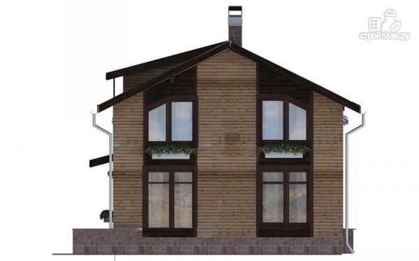 Фото 4: проект дом в полтора этажа с длинной террасой и балконом